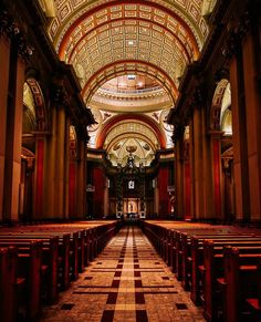An incredible image of the Mary, Queen of the World Cathedral located in Montreal, Quebec, Canada. It is a minor basilica and is the third largest church in Quebec. Definitely a must see if you're in the area. Montreal Quebec, Canada Travel, Big Ben, Cathedral, Third, Mary, The Incredibles, Queen, World