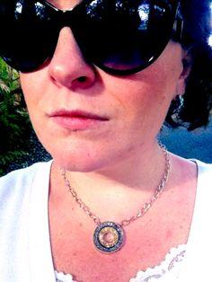Druzy platinum & gold circle necklace