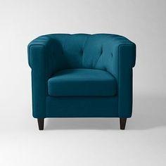 Chester Tufted Upholstered Chair - Lagoon (Performance Velvet) #westelm