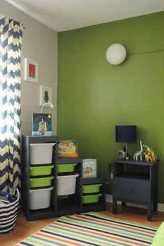 Boy room colors champagne toddler room on a beer budget in for toddler rooms room bedroom Boys Bedroom Colors, Boys Bedroom Paint, Bedroom Green, Bedroom Decor, 6 Year Old Boy Bedroom, Boys Room Paint Ideas, Green Boys Room, Ikea Boys Bedroom, Boys Room Curtains