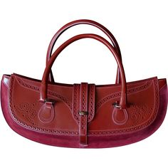 Vintage Tanner Krolle red leather bag purse, England based company since 1856