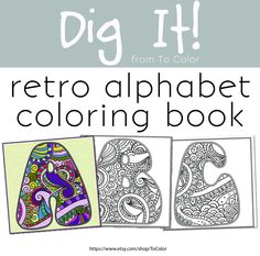 Alphabet Coloring eBook, Coloring Page for Grown Ups - Instant Download