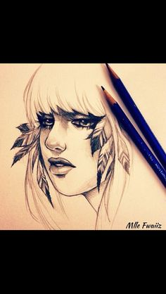 Girl with feathers drawing