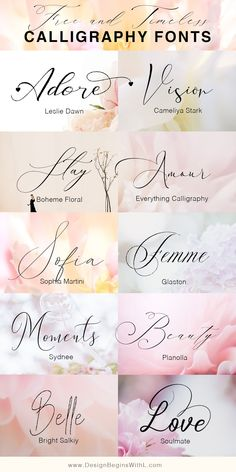 Free and Timeless Calligraphy Fonts Calligraphy is the timeless art of beautiful and elegant writing that undergoes the Renaissance nowadays. And it's no wonder why. Wedding Font Free, Blog Fonts, Fonte Alphabet, Logo Inspiration, Handwriting Fonts, Free Cursive Fonts, Free Calligraphy Fonts Download, Hand Lettering Fonts Free, Best Free Script Fonts