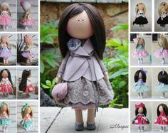 Soft doll red black blonde Handmade doll Nursery decor Tilda