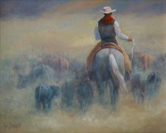 'Rush Hour Traffic'  western art oil painting, by Kim Corpany