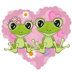Two Frogs royalty free illustration Funny Frogs, Cute Frogs, Girl Cartoon, Cute Cartoon, Cartoon Drawings, Cute Drawings, Cartoon Background, Funky Shower Curtains, Cards
