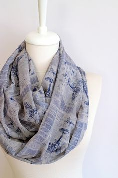 Avion foulard infini foulard bleu imprimé foulard par Aslidesign