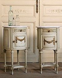 Vintage Shabby French Louis XVI Nightstands Cane-antique, sage, green,gilt, gold, hand carved, cane, stretcher,marble,top,bed, bedroom, furniture,floral, garland, 1930's,