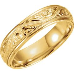 14kt Yellow 6mm Hand Engraved Band Size 7