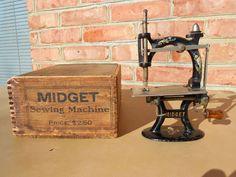 Old Antique Cast Iron Midget Toy Sewing Machine w/Original Wood Box