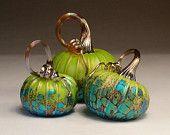Jack Pine Hand Blown Glass Pumpkin Small Three Piece Chartreuse Set