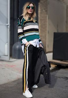 The Best NYFW Fall 2017 Street Style - Fall & Winter Fashion Outfit Ideas New York Fashion Week F/W 17 Stripes, athleisure, track pants New York Street Style, Street Style 2017, Looks Street Style, Autumn Street Style, Summer Street, Street Styles, New York Fashion, Fashion Week, Look Fashion
