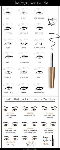 eye makeup eyeliner styles and shapes guide infographic - Get your favorite makeup at the lowest prices at http://www.themakeupchick.com.