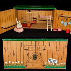 1950s Steiff FAO Schwartz Complete Country Mouse House w/ Orig Mouse