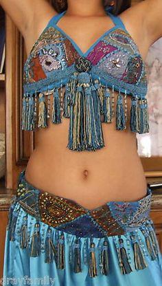 Belly Dance Turquoise Sari Tribal Tassel Bra Belt Set
