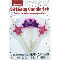 Way To Celebrate Princess Stick Birthday Candles 3 Pack
