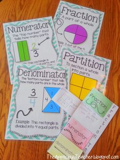 "For the past few weeks, we've been knee-deep in fractions. Now, in second grade fractions are ""easy"" you spend like a week on them and boom you move onto time. 3rd Grade Fractions, Teaching Fractions, Second Grade Math, Math Fractions, Teaching Math, Equivalent Fractions, Comparing Fractions, Dividing Fractions, Fractions Worksheets"