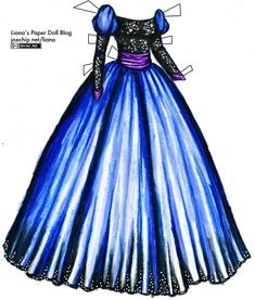 A dramatic ball gown with a black sequined bodice and long sleeves, puffed blue sleeves at the shoulder and a full, shiny blue skirt with a black sequined hem. There's a wide purple satin sash around the waist and purple satin at the wrists.