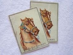 2 victorian trade cards  HORSES  with GeeGee's by theartfloozy, $3.95