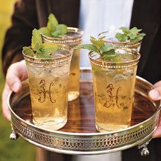 juleps in beautiful glasses on a stunning tray