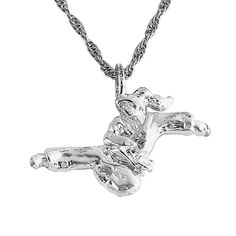 Kicking Nickel Plated Necklace Karate Martial Arts c13476