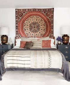 What a great idea to hang the rug on the wall behind the bed! Looks beautiful