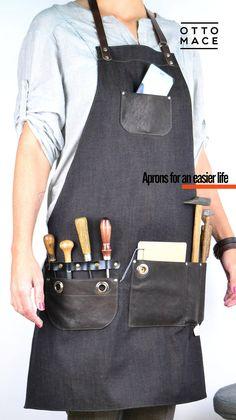DENIM LEATHER Apron CARGO Leather Apron, Woodworking Apron, Aprons For Men, Denim Bag, Snapback Hats, Leather Working, Black Denim, Sewing Patterns, Organization