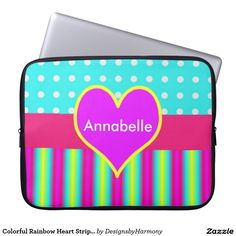 Colorful Rainbow Heart Striped Polka Dots Laptop Sleeves
