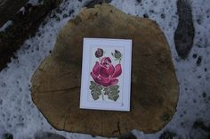 Romantic Red Rose Card Rose Birthday Card Unique silk painting card Rose Gift Card Rose Wedding Card Flower Greeting Card Rose Mother's Day