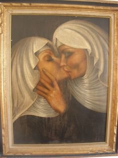 Kissing Nuns Original Signed Painting by Mathias Waske German Realist Painter  #Realism