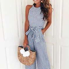 Women Sleeveless Striped Jumpsuit Casual Clubwear Wide Leg Pants Outfit Green Small -- Click picture to examine even more information. (This is an affiliate link). Long Romper, Romper Pants, Black Romper, Romper Suit, Black Pants, Dress Black, Rompers Women, Jumpsuits For Women, Fashion Jumpsuits