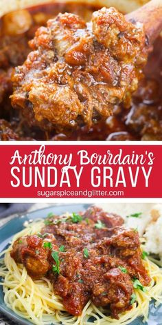Simply the best spaghetti meat sauce you will ever make, Sunday Gravy is an Italian American tradition for a reason! Sauce Pasta, Spaghetti Meat Sauce, Spaghetti Recipes, Pasta With Meat Sauce, Italian Dinner Recipes, Sunday Dinner Recipes, Authentic Italian Recipes, Italian Pasta Recipes Authentic, Italian Dinners