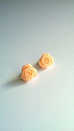 Rose  Earrings . Studs . $5.00, via Etsy.