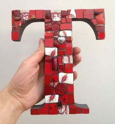Mosaic Letter T in Red - Mosaic
