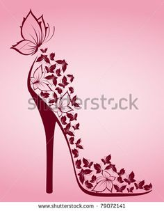 High heel from beautiful butterflies