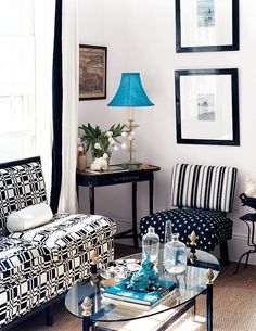 See more images from color combinations for your home: black+white+blue on domino.com