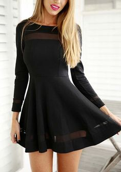 Black Fall Long Sleeve Pleated Dress | Long Sleeve Strapless Dress