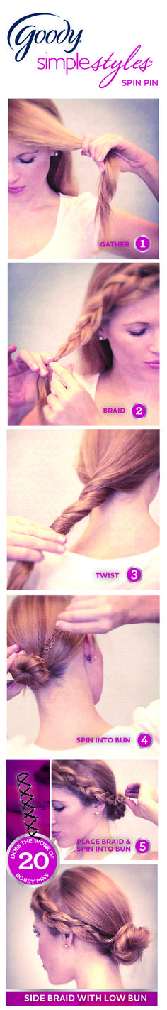 For a different look, add a side braid to your bun.  Easily done with the Goody Spin Pin! #SpinPin #how-to