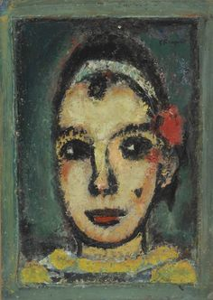Georges Rouault (1871-1958)  Tête de Pierrot (n.d.) oil on paper laid down on paper laid down by the artist on canvas 36 x 26 cm