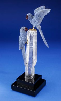 Lapidary Art:Carvings, BLUE CHALCEDONY MACAW COUPLE on QUARTZ CRYSTAL BASE. Artist:Peter Müller. Stone Source: Brazil & Worldwide. ...(Total: 3 Items) Image #1
