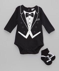 This Baby Essentials Black Tuxedo Bodysuit & Socks - Infant by Baby Essentials is perfect! #zulilyfinds