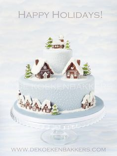 Winter cake decorated with gingerbread cookie houses - easy, neat, and cheerful
