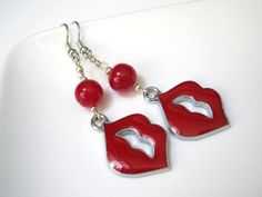 Sealed with a Kiss Enamel Red Lips Dangly by ChristmasisMagical