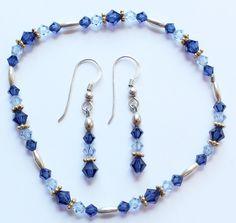 Vintage STERLING SILVER 925 Blue Crystal Gold Filled Earrings & Bracelet by paststore on Etsy