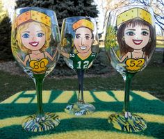 Green Bay Packers Football Fan Hand Painted Wine Glass on Etsy, $35.00