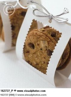 Put cookies into cellophane bags and add this packaging for bake sale/cookie exchanges.