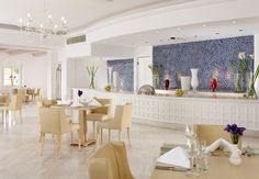 Mykonos Grand Dolphins of Delos Restaurant: Open for breakfast and a la carte dinner daily. Choice of seating outdoors or indoors in a climate-controlled ambiance.