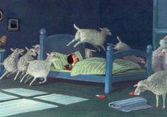 Gerhard Glueck - Art Fucks Me Michael Sowa, Sheep Drawing, Sheep Illustration, Sheep Art, Gerhard, Sheep And Lamb, Counting Sheep, Good Night Moon, Night Night