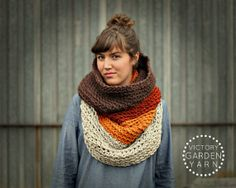 Ombré Cowl Scarf in Amber